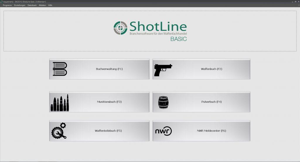 ShotLine Basic Eingangsbildschirm